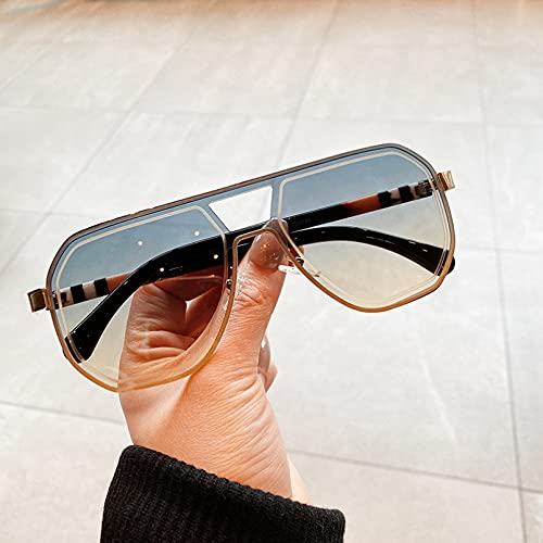 SXRAI Gafas de Sol cuadradas de Moda para Hombres y Mujeres Que conducen Gafas de Sol rectangulares Uv400 para Mujeres,C4