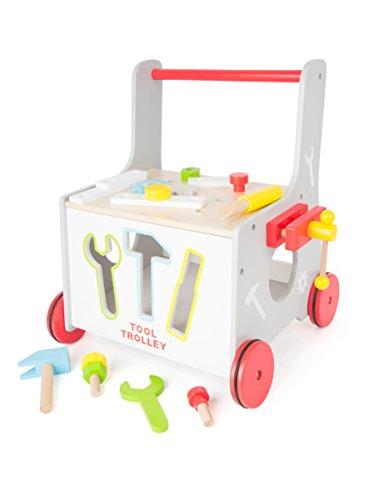 2 in 1 Lauflernwagen Werkzeug Werkstatt Lauflernhilfe Steckspiel mit Gummibereifung 34 x 36 x 44 cm, 13-teiliges Zubehör