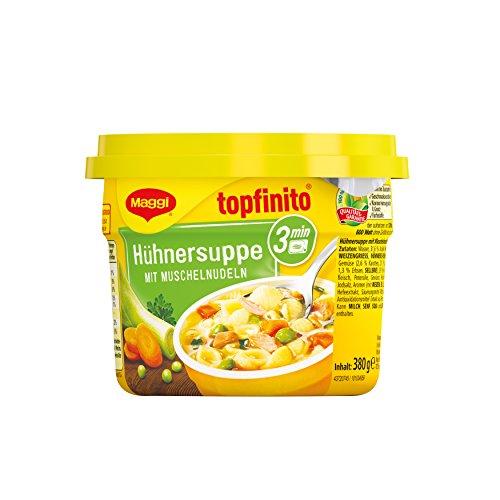 Maggi Topfinito Hühnersuppe mit Muschelnudeln, kräftige Hühnerbrühe mit knackigem Gemüse und feinem Hühnerfleisch, für die Mikrowelle, 1er Pack (1 x 380g)