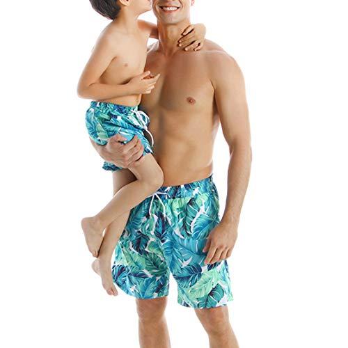 Gaga city Bañadores Familia con Estampado de Hojas Madre Padre Hijo Hija Traje de Baño Azul Bikini Set Elegante Ropa de Playa