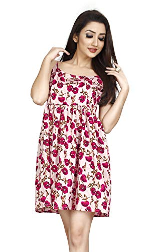 Fressia Women's Casual Printed White Dress for Women (Cream, Large)