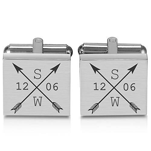 Manschettenknöpfe mit Gravur eckig mit Pfeilen und Initialen – personalisierte Hochzeitsgeschenke für Herren Hemden – Gravierter Silber Schmuck zur Hochzeit