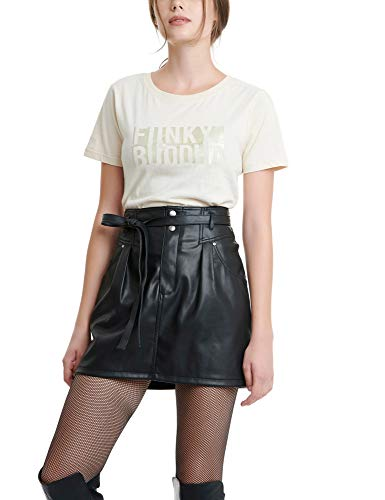 FUNKY BUDDHA Women's Mini Faux Leather Skirt Black in Size Small
