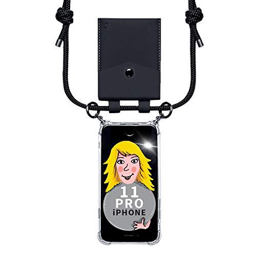 phonecover lover für iPhone 11 Pro - Handy-Kette für Smartphones mit Tasche als Kartenetui für Kleingeld - Stabile Handyhülle zum Umhängen für iPhone - Smartphone Necklace (Schwarze Tasche)