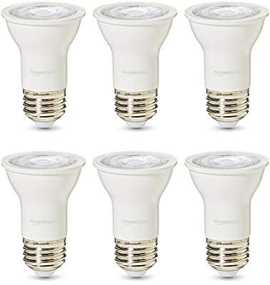AmazonBasics Commercial Grade 25,000 Hour LED Light Bulb   50-Watt Equivalent, PAR16, 3000K White, Dimmable, 6-Pack