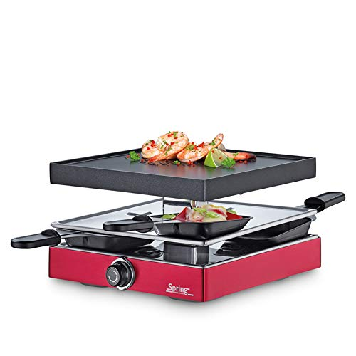 Spring Raclette Rot mit Alugrillplatte Eu Raclette4 Classic