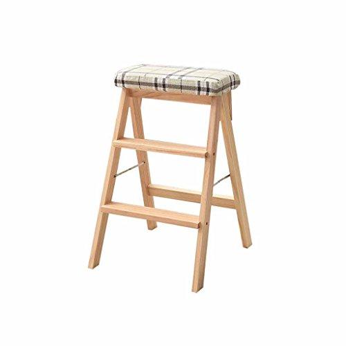 LLCY Taburete de escalón para el hogar, escalera de madera, portátil, 3 peldaños, doble uso, descuento móvil, tipo A, antideslizante, con cojín de madera, escalera de escalón