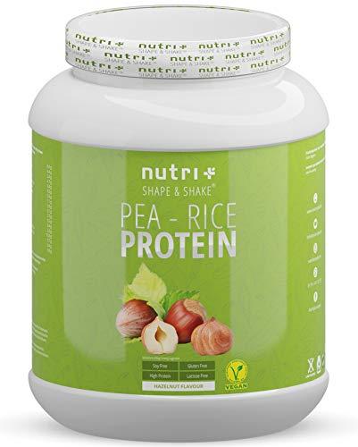 Veganes Proteinpulver ohne Soja, Gluten, Laktose - Nuss 1kg - Nutri-Plus Erbsen-Reisprotein Haselnuss - Protein Powder vegan - sojafrei & zuckerarm - hergestellt in Deutschland