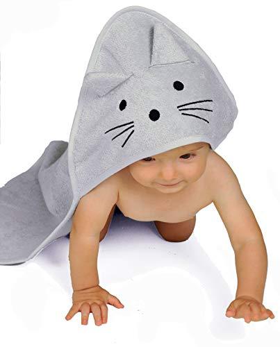 BabyCrate Kapuzenbadetuch Kätzchen 100% Bio-Baumwolle weich und dick - Premium-Qualität - Perfekt als Geschenk für Neugeborene, Säuglinge und Kleinkinder, 75x75 cm