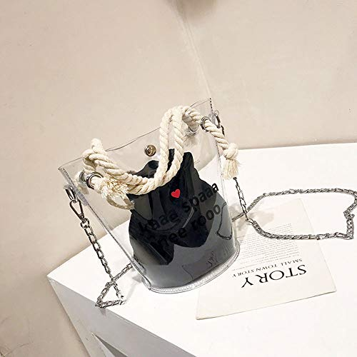 Women's Bag Transparent Bucket Bag Summer New Bag Zak van het Meisje Small Fresh Fashion Wild Bag Sen Ketting Ketting Bun Moeder Jelly Package (Color : Black)