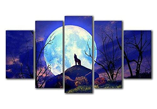 wangdazhuang 5 Piece Canvas Wall Art Wolf In The Moon Night Canvas Prints Wall Canvas Wooden Frame Wall Hanging Decoration Large Wall Art150X80Cm