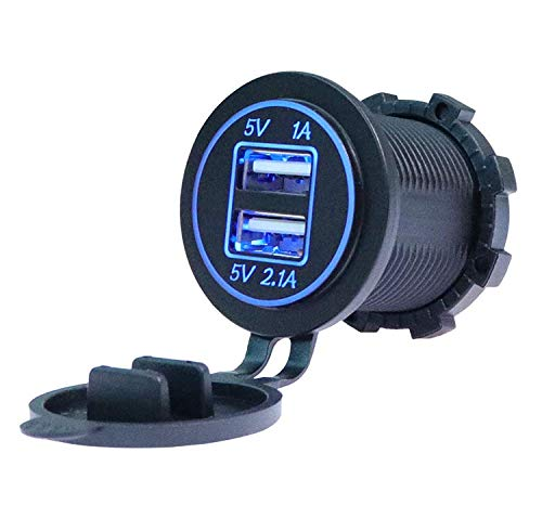 TID LED - Adaptador Cargador USB 12V-5V IP65 2 Salidas 1A y 2.1A Empotrable Azul Pack 5 Pack 10 o Pack 20 (Pack 10 Unidades)