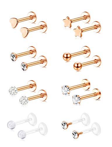 Cassieca 16 Stück Edelstahl Piercing Herren Damen ohrknorpel Piercing Ear Piercing Lip Piercing Set Tragus Piercing Rosegold Gold Silber