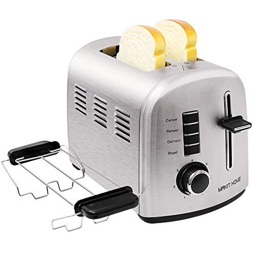 Toaster 2 Slice,Extra Wide Slot 2 Slice Best Rated Prime Toaster,Stainless Steel Retro Kitchen Toaster,Small Bagel Toasters,Mini Bread Toasters Oven with 7 Shade Settings,Removable Crumb Tray