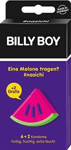 Billy Boy nasichi 6er und 2 Gratis (farbig, fruchtig, extra feucht) lila - Melone, 2er Pack (2 x 8 Stück)