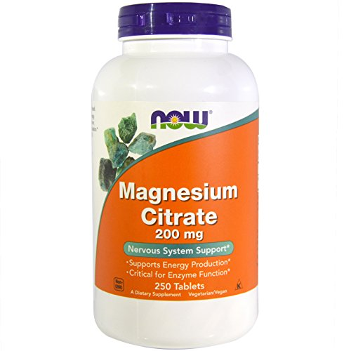 Now Foods Magnesium Citrate 200mg, 250 Tablets (Pack of 2)