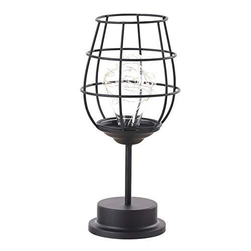 Lámpara de noche de hierro, luz nocturna retro, lámpara de mesa industrial, cesta de metal, lámpara de jaula decorativa