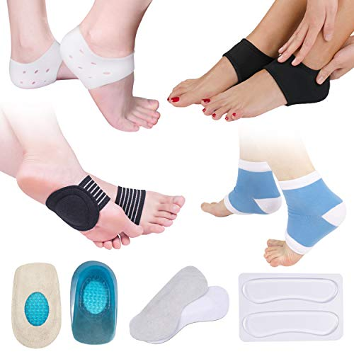Plantar Fasciitis Pain Relief Kit-14 Pcs, Compression Socks, Sleeve Ankle Brace, Foot Arch Supports & Therapy Wraps, Gel Heel Spur, Gel Heel Inserts Cushion & Heel Grips Support for Metatarsal Pain