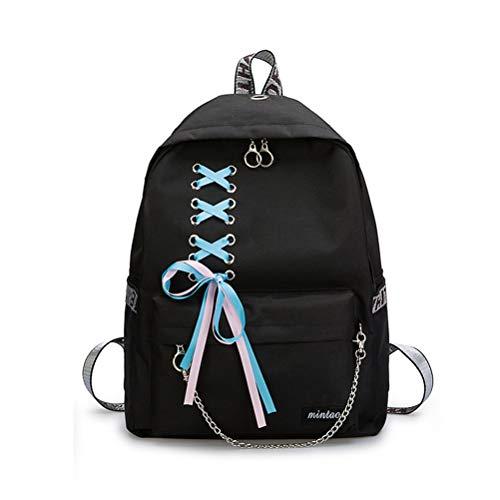 SHXKUAN Teen Girl School Backpack 12-16 inch Laptop Bag Canvas Shoulder Handbag for Travel Daypack Camping (Black)