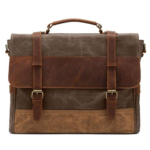 Herenmode schouder diagonaal pakket, olie-was-canvas laptoptas multifunctioneel messenger voor mannen canvas messenger tas
