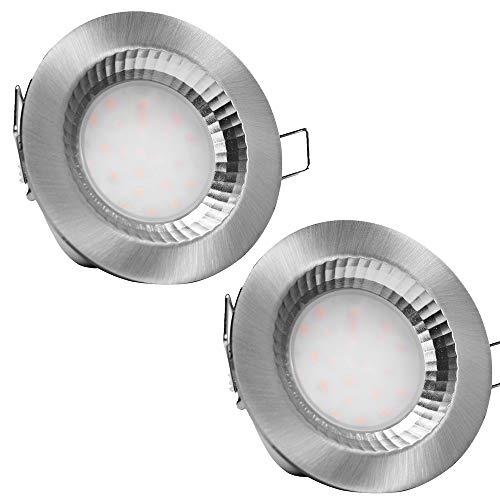 LED Badeinbaustrahler 230V Flach IP54 LED Einbauleuchte Nautik 2 x 5W Deckenspot Edelstahl geb. 3000K 40mm Einbautiefe