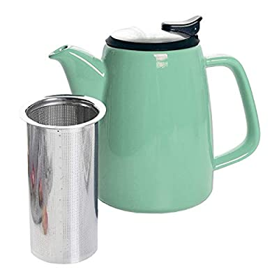 GRACIRI Ceramic Teapot with Infuser, 32oz Porcelain Green Tea Pot with Stainless Steel Lid, Large Fine Infuser Blooming Loose Leaf Teapot for Tea Lover, Gift, Family, 920ml (4-6 Cups)