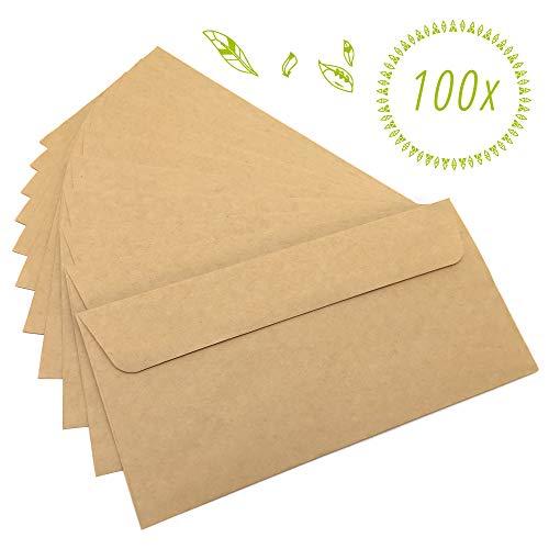Japun – Briefumschläge (100 Stück) aus vintage Kraftpapier/ohne Fenster - DIN lang - 222 x 110 mm