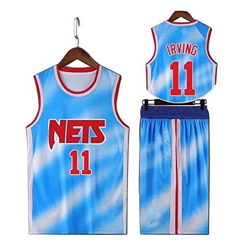 ZHS Brooklyn Nets # 11 Kyrie Irving - Camiseta de baloncesto para hombre, diseño retro sin mangas, secado rápido, transpirable, pantalones cortos Irving Blue-XXXL