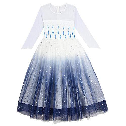 IBAKOM - Disfraz de princesa con lentejuelas de malla y brillantes para disfraz de carnaval azul 5-6 Aos