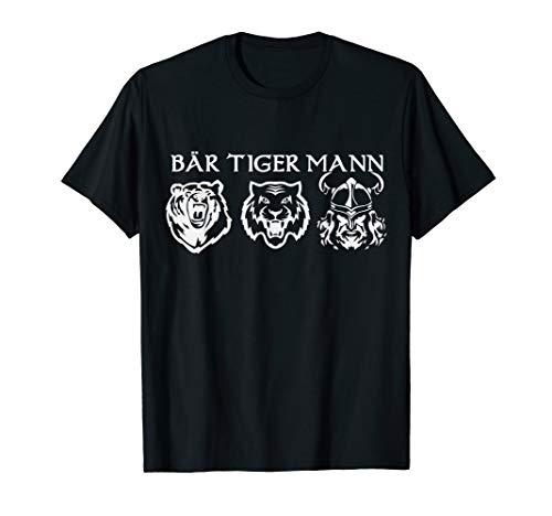 Herren Bär Tiger Mann Bartträger Spruch T-Shirt