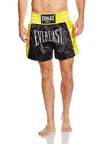Everlast de Boxeo Pantalón de Thai Boxing, Unisex, Negro/Dorado, XL
