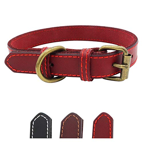 Genuine Leather Dog Collar for Puppy Small Medium and Large Dog(Red S)