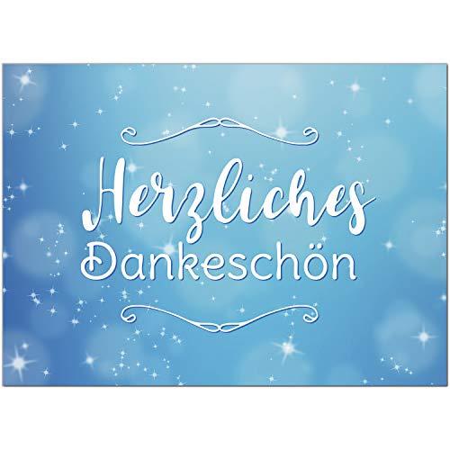 15 x Dankeskarten mit Umschlag - blau Glitzer - Danksagungskarten, Danke sagen, nach Hochzeit, Geburt, Baby, Taufe, Geburtstag, Kommunion, Konfirmation, Jugendweihe