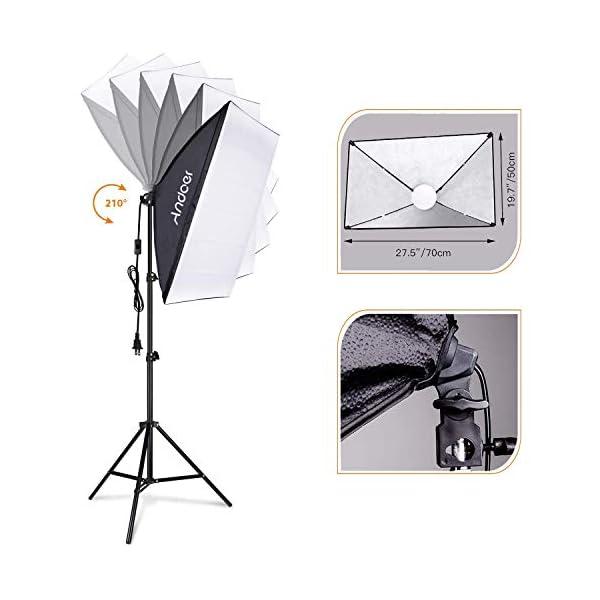 Andoer Studio Photography Light kit Softbox Lighting Set with 85W 2800K-5700K Bi-color Temperature LED Light 2 + 50x70cm…