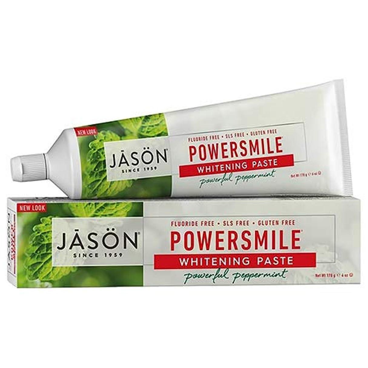 税金食品有彩色のJason Natural, PowerSmile, Antiplaque & Whitening Paste, Powerful Peppermint, 6 oz (170 g)