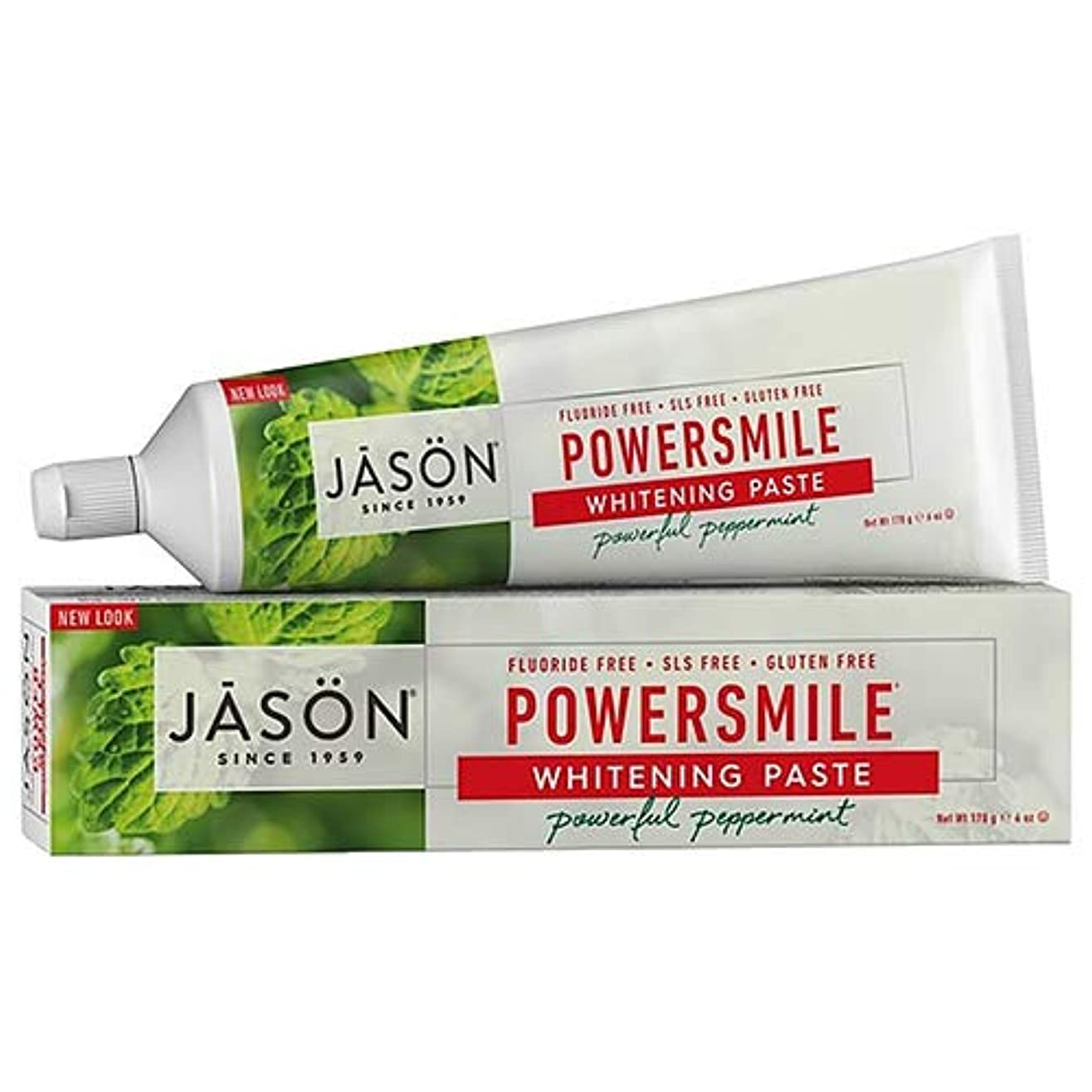 マイルストーン知る特許Jason Natural, PowerSmile, Antiplaque & Whitening Paste, Powerful Peppermint, 6 oz (170 g)