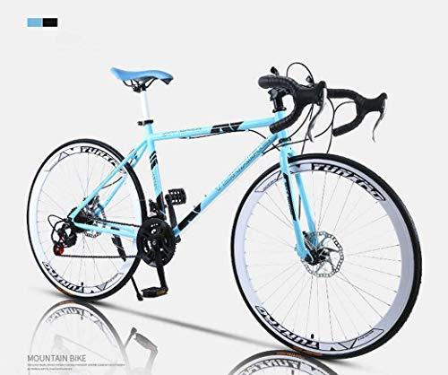 Camino de la bicicleta, de 24 velocidades de 26 pulgadas, bicicletas de doble disco de freno, marco de acero al carbono de alta, camino de la bicicleta de carreras, hombres y mujeres adultos de,C