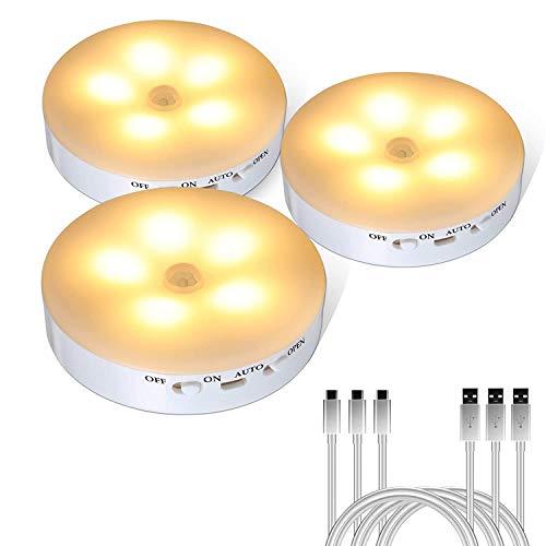LED Nachtlicht mit Bewegungssensor, Yisun 3 Stück Helligkeit Stufenlos Einstellbar Sehr gut für Kinderzimmer, Treppenaufgang,Schlafzimmer, Küche, Orientierungslicht,WarmWeiß (3 Stück)