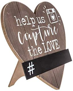Capture The Love Heart Wood Decoration With Chalkboard Wedding Reception