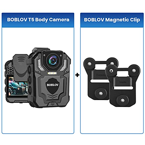 Bundle Deal, BOBLOV Body Camera Magnet Mount, Universal Magnetic Suction+BOBLOV T5 128GB 1296P Body Camera with Audio Recording Wearable Police Body Camera for Law Enforcement, Night Vision