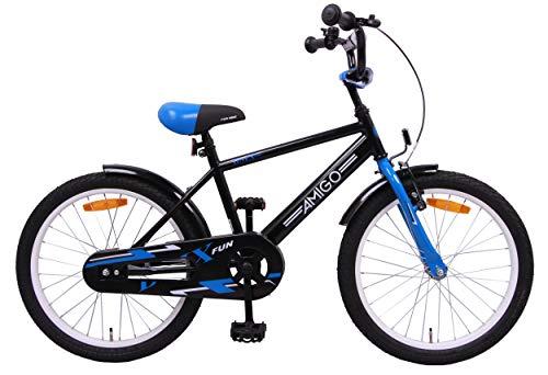 Amigo BMX Fun - Bicicletta per bambini 20 pollici - Per Bambino di 5-9 Anni - Freno a mano, Freno a contropedale, Campanello per Bicicletta e Cavalletti per bicicletta - Nero/Blu
