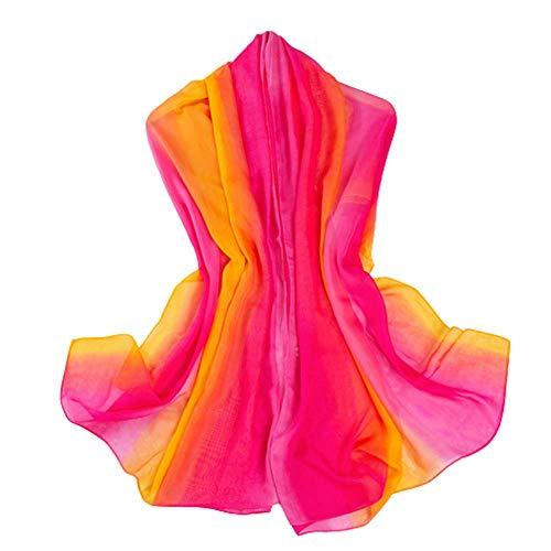 Bufanda De Seda Del Color Del Arco Iris De La Pendiente Para Las Mujeres, Bufanda De Gran Tamaño De La Gasa De La Toalla De Playa Del Viaje
