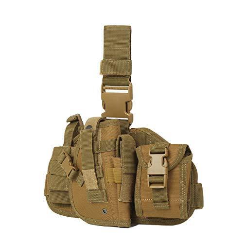 Eshow Gun Holster, Drop Leg Holster, Tactical Thigh Pistol Gun Holster Leg Harness, Right Hand Adjustable