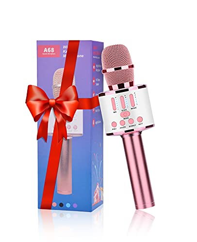 FISHOAKY Karaoke Microphone for Kids, Portable Karaoke Bluetooth Microphone Wireless Voice Changer Microphone Speaker Player with LED Lights Girls Boys Home Party Christmas Birthday Gifts,Pink