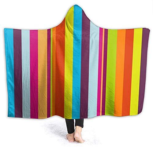 ZHENGYUAN Albornoz de rayas con capucha para niños pequeños, de franela, con mangas, 80 x 60 cm