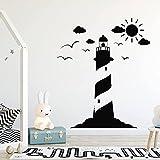 Faro Náutico Mar Viaje Volante Cielo Sol Nubes Pájaros Vinilo Etiqueta de la pared Calcomanía Niños Guardería Dormitorio Oficina Estudio Decoración para el hogar Mural
