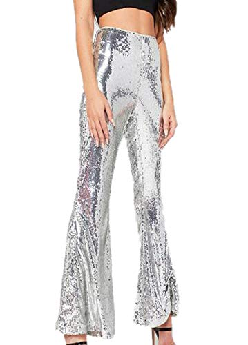 Huateng Pantalón Sexy Brillantes con Lentejuelas para Mujer Disco Clubwear Pantalones Sexy Casuales