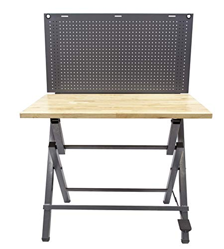 Might Foldable Heavy Duty Workbench and Garage Tool Organizer | Holds...