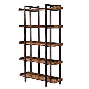 """Rolanstar Bookshelf 5-Tier Open Etagere Bookcase 71.8''H x 41.3""""L Freestanding Bookshelves for Storage and Display Wood Rustic Book Shelves for Living Room Bedroom Home Office"""