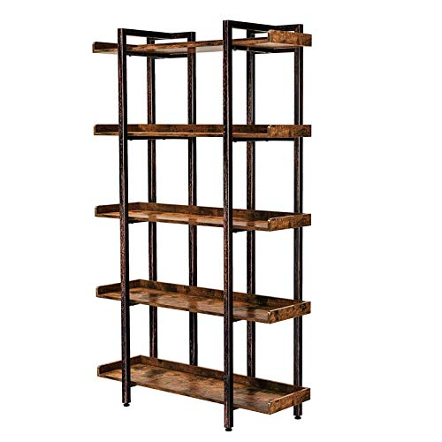 """Rolanstar Bookshelf 5-Tier, Open Etagere Bookcase, 71.8''H x 41.3""""L Freestanding Bookshelves for Storage and Display, Wood Rustic Book Shelves for Living Room Bedroom Home Office"""